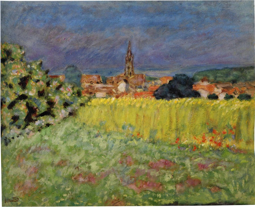 Pierre Bonnard. Le champ de ble devant l'eglise. Circa 1907. Oil on panel.Фото: НГХМ