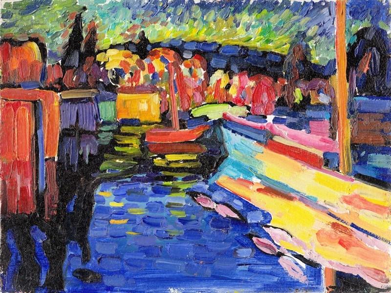 кандинский пейзаж с лодкой